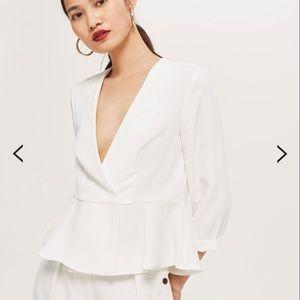 Topshop white peplum light jacket